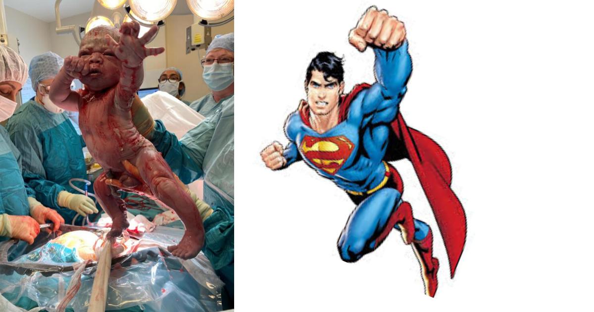 Design sem nome 8 2 - Bebê chega ao mundo todo estiloso posando como Super-Homem